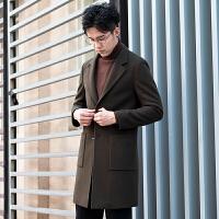 毛呢大衣男中长款秋冬季青年新款呢子外套韩版修身帅气妮子风衣潮 军绿色 M