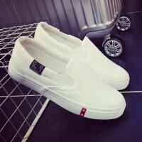 韩版一脚蹬懒人鞋平跟白色布鞋平底黑色帆布鞋女小白鞋休闲鞋女鞋
