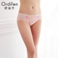 【2件3折到手价约:38】欧迪芬女式内裤年繁花蕾丝中腰三角裤性感女士内裤XP7203