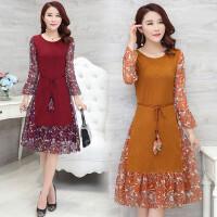 2018春秋装韩版中年女妈妈装长袖雪纺假两件修身中长款打底连衣裙