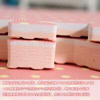 泡沫地垫儿童拼接3030家用满铺卧室榻榻米可手洗爬行垫子田园拼图 粉红色 田园点