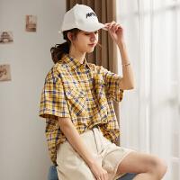 【2件2.5折】唐狮春季2019女格子衬衫韩版设计感小众衬衣心机短袖宽松少女上衣