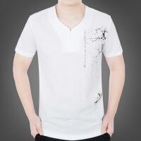短袖t恤新款男士V领白色黑色夏季薄款衣服修身青中年打底衫体恤