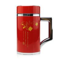 富光生态杯外层不锈钢内胆骨瓷杯带柄办公杯400ml 生态茶杯FGL-3324