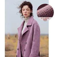 红袖双面呢大衣女冬装新款流行长款紫色格纹收腰羊绒毛呢外套