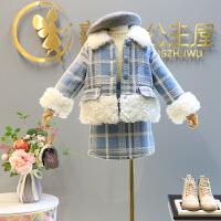 童装冬装新款女童加绒小香风套装