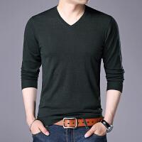 秋冬男士v领纯色羊毛衫薄款修身青年针织衫男装休闲长袖打底衫潮