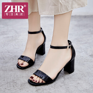 ZHR凉鞋女高跟简约百搭OL粗跟韩版时尚露趾包跟一字扣带鞋2018夏新品