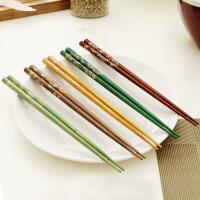 欧润哲 10对柯木筷子套装 厨房手工实木筷子 料理尖头筷