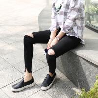 韩版新款黑色高腰牛仔裤女九分裤2018春款烟灰色流苏紧身小脚裤潮