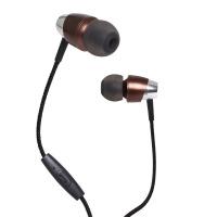 尼龙编织线控耳机 金属重低音降噪带麦入耳耳�C直销 深咖啡 盒装