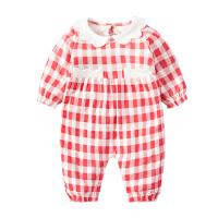 婴儿连体衣服女宝宝新生儿0岁3个月纯棉6秋季1秋装秋冬季冬装睡衣