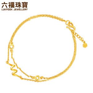 六福珠宝黄金手链丝带轻舞双层链足金手链女 *计价L05TBGB0007