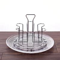 不锈钢杯子收纳置物架杯架放茶杯的架子创意玻璃杯沥水架水杯挂架 +玻璃盘
