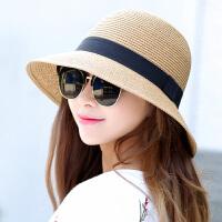 草帽子女夏太阳帽遮阳帽可折叠盆帽大沿凉帽沙滩帽渔夫帽盆帽
