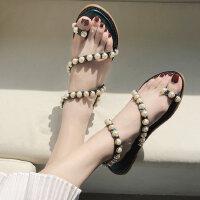 户外平底晚晚鞋时尚仙女风女士凉鞋串珠套趾搭配裙子的鞋