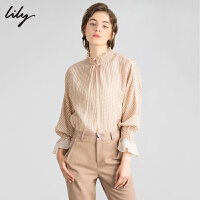 Lily冬新款气质格子荷叶领打底衫喇叭袖宽松套头雪纺衫女8E32