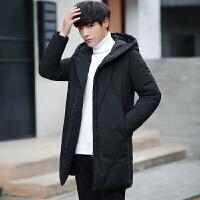 2017新款冬季羽绒服男士中长款外套学生菱形修身加厚连帽黑色大衣 黑色