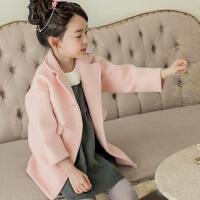 2018秋冬新款韩版女童呢大衣翻领中长款大衣毛呢外套儿童呢子外套