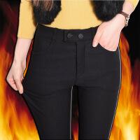 加绒打底裤女外穿冬季2017新款韩版高腰弹力黑色加厚小脚保暖棉裤