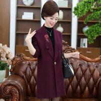 秋冬季新款时尚修身中老年女装翻领开衫中长款妈妈装毛呢大衣