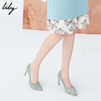Lily春新款女装商务舒适尖头高跟鞋莫兰迪色皮鞋118110JZ802