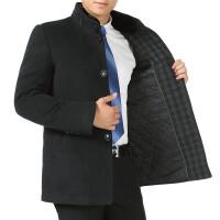 2018秋冬季中老年人男装夹棉加厚毛呢大衣男大码立领爸爸装外套冬