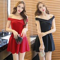 礼服女2017新款 韩版学生夜店女装露肩气质显瘦性感一字肩连衣裙