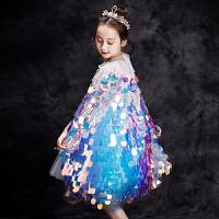 女童秋冬冰雪奇缘2美人鱼小披肩外套儿童公主宝宝披风斗篷演出服
