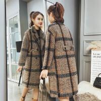 2018春装新款韩版宽松毛呢大衣女中长款加厚格子chic毛呢外套冬装