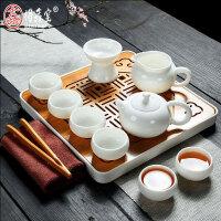 白玉瓷功夫茶具套装整套手工泡茶盖碗茶壶茶杯陶瓷家用礼品