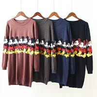 K1秋冬新款女装韩版卡通提花毛衣 女打底衫套头加厚显瘦针织衫0.5