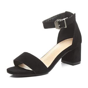 ELEISE美国艾蕾莎新品020-A272日系超纤皮高跟粗跟女士凉鞋