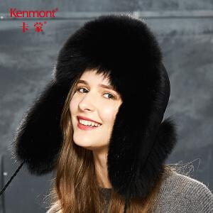 卡蒙皮毛一体狐狸毛东北帽羊皮雷锋帽女冬加厚保暖户外滑雪皮草帽 2687