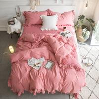 少女荷叶边棉四件套素色高端被套床单剪花双人1.8米水洗棉