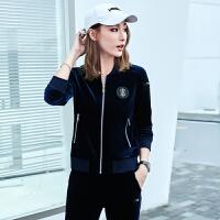 立领开衫卫衣套装女春秋新款韩版时尚运动两件套跑步服潮