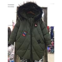 Q3羽绒服女中长款冬装新款韩版显瘦大毛领贴布加厚外套潮0.95