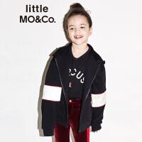 littlemoco秋季新品儿童外套拼接撞色保暖连帽拉链宽松夹克外套