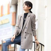 【限时抢购】西装外套女韩版宽松休闲女士上衣格子长袖中长款2019新品时尚西服