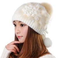 韩版潮毛线帽子女秋冬天新款可爱保暖粉/白色护耳针织帽