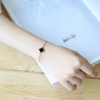 韩版黑色幸运四叶草手链女镀18K玫瑰金钛钢饰品配饰