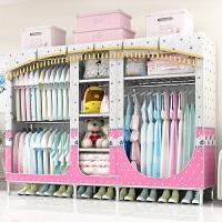 衣柜简易布衣柜出租房简约现代经济型组装布艺双人衣橱省空间j 777粉色小象 2.1米 2门