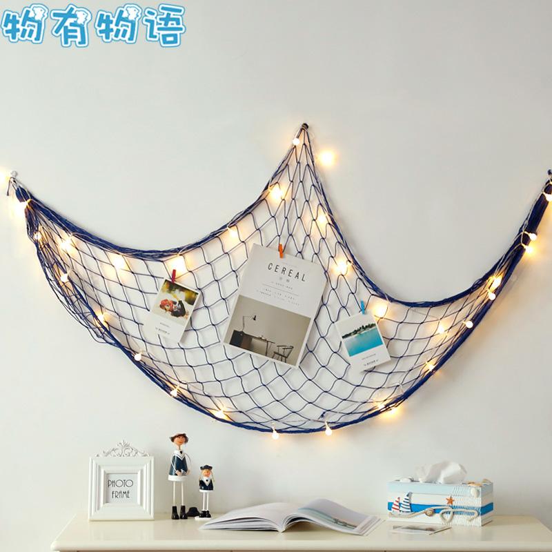 物有物语 创意照片墙 地中海风格渔网棉麻绳夹子网格照片墙家居店铺DIY创意背景墙 DIY创意背景墙 多种道具的组合