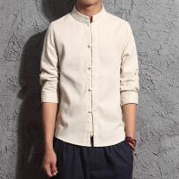 亚麻七分袖衬衫中国风男装大码宽松盘扣立领中式唐装上衣衬衣