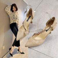 女士时尚水钻尖头高跟鞋 新款性感细跟单鞋 中空女鞋子包头浅口绒面OL单鞋