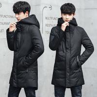 羽绒服男冬装韩版修身学生连帽加厚保暖青年外套潮流中长款上衣男 7915黑色 M