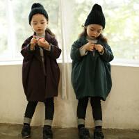 秋冬季韩版童装新款亲子装外套女童毛呢子大衣纯色中长款男童加厚