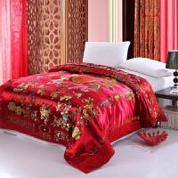 伊迪梦家纺 纯色婚庆被套被罩单品单件 奢华织锦缎丝绸面料 红黄粉绿四色两款多规格双人床型XY101