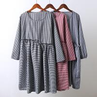 K5秋装新款棉麻风连衣裙 宽松大码格子高腰显瘦民族风中长裙0.3