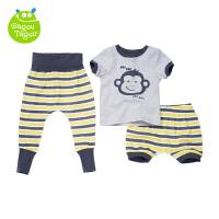 【加拿大童装低至19元】GagouTagou 婴儿纯棉套装短袖三件套高腰裤子外出服